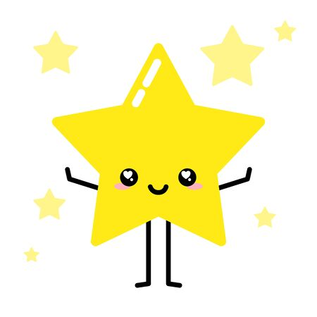 Cute kawaii star character smiling wanting to hug, sky full of stars in background vector Ilustração