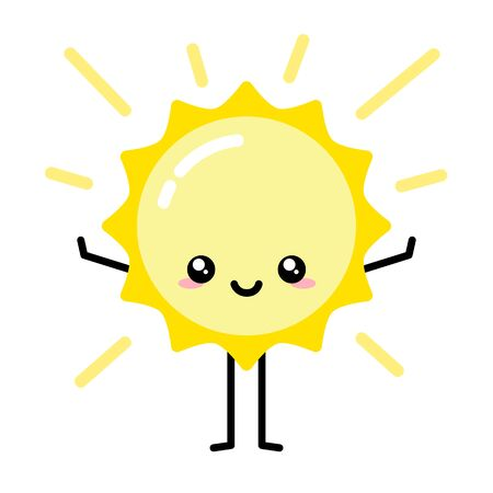 Cute kawaii sun character smiling wanting to hug, rays of light in background vector Ilustração