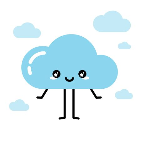 Happy kawaii cute cloud mascot in pastel blue color, isolated on white background vector Ilustração