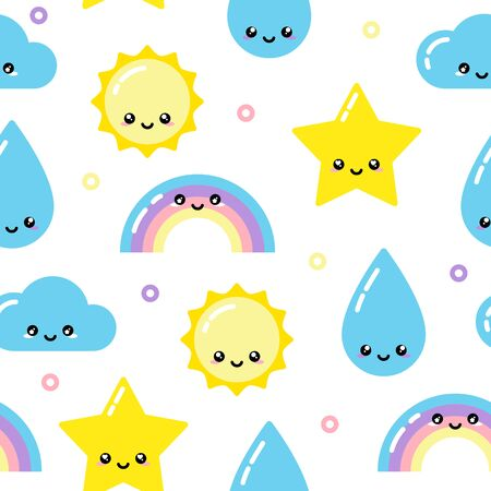 Kawaii weather seamless pattern with sky elements Vettoriali