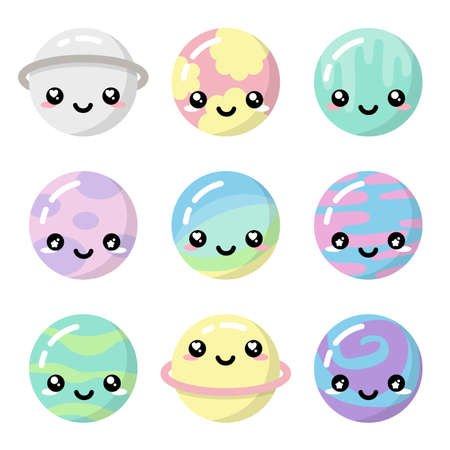 Cute kawaii planets pastel colorful set isolated