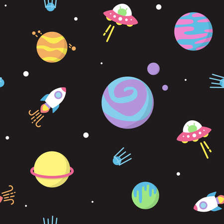 Cute universe pattern with planets and UFO