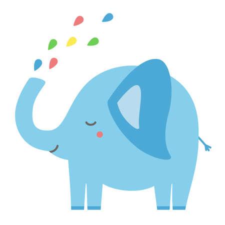 Cute elephant spraying rainbow water childlike pastel isolated illustration