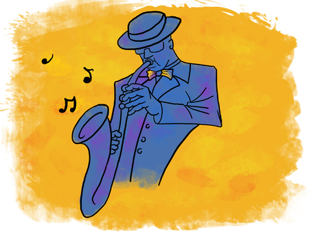 saxophonist: Blue saxophonist playing music