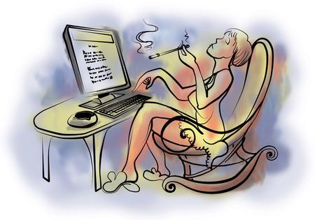 sexy young girl: Молодая красивая женщина, работающая на компьютере Фото со стока