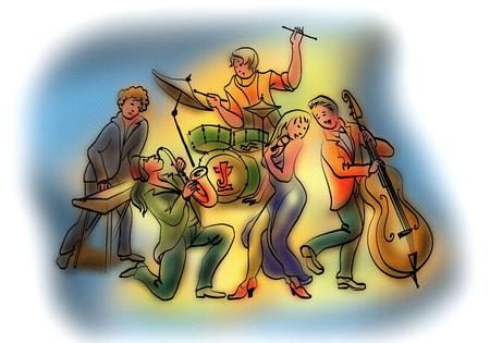 Jazz band jouant de la musique Banque d'images - 48971743