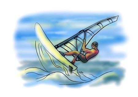 sail board: Sail board surfing in ocean