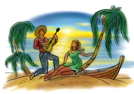 serenading: Young man and woman on tropical beach
