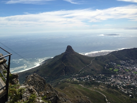 robben island: The view from on top of Table Mountain Cape Town South Africa. Now one of the 7 wonders of the world.