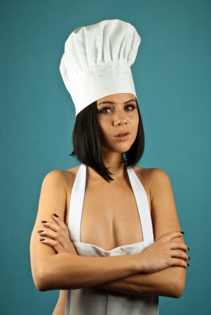 basic food: sexy girl with cute expression in clothes cooks