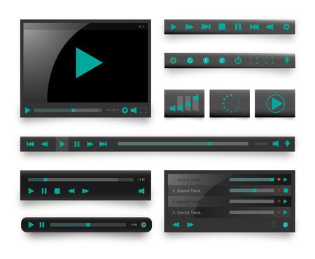 Icon Media Set. Web elements. Black Edition Vector