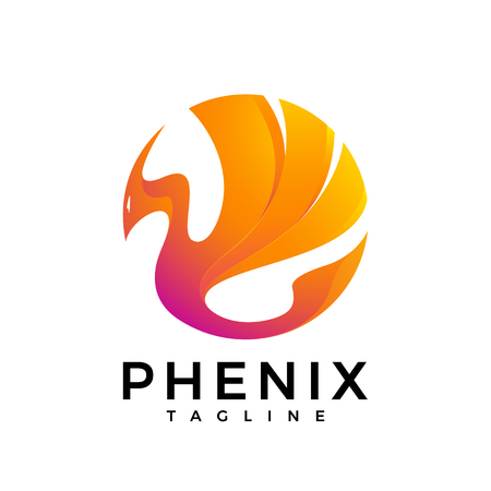 mythical phoenix bird: The logo of a fire bird in bright fire colors. phoenix Illustration