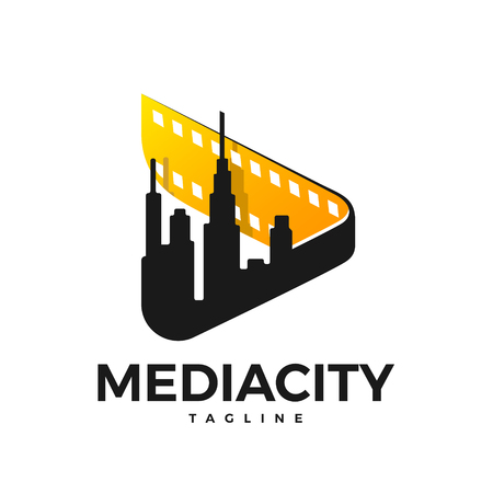 Media logo in the form of a sign (play) with a film and a city in the inside