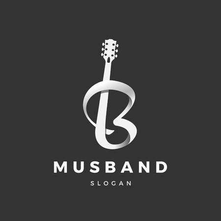 Logotipo de guitarra, con la transición a la letra (B)