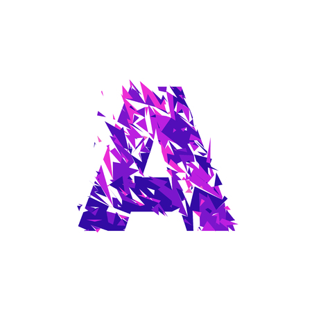 Letter A is made in the ultraviolet color with effect destroyed shape or splinters. Иллюстрация