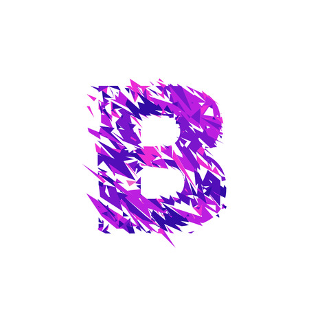 Letter B is made in the ultraviolet color with effect destroyed shape or splinters.