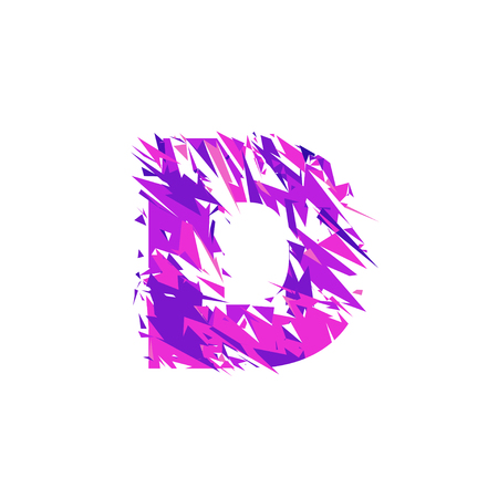 Letter D is made in the ultraviolet color with effect destroyed shape or splinters.