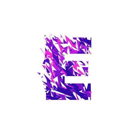 Letter E is made in the ultraviolet color with effect destroyed shape or splinters.