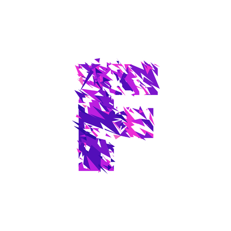 Letter F is made in the ultraviolet color with effect destroyed shape or splinters.