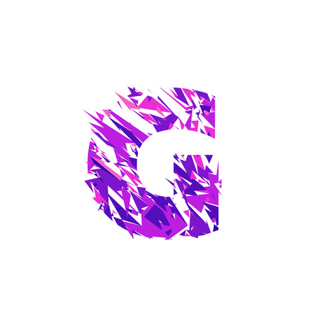 Letter G is made in the ultraviolet color with effect destroyed shape or splinters.