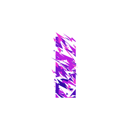 Letter I is made in the ultraviolet color with effect destroyed shape or splinters.