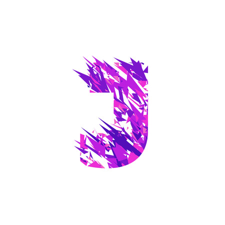 Letter J is made in the ultraviolet color with effect destroyed shape or splinters. Иллюстрация