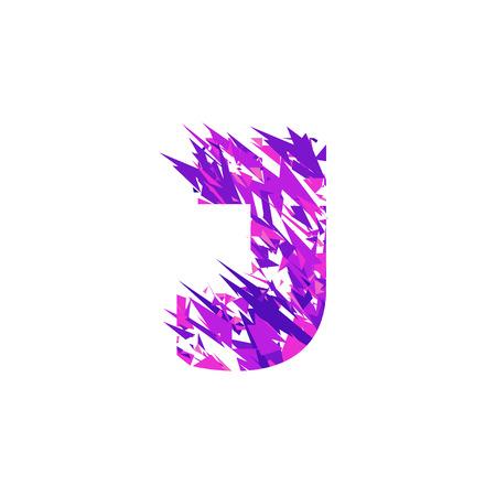 Letter J is made in the ultraviolet color with effect destroyed shape or splinters. Illustration