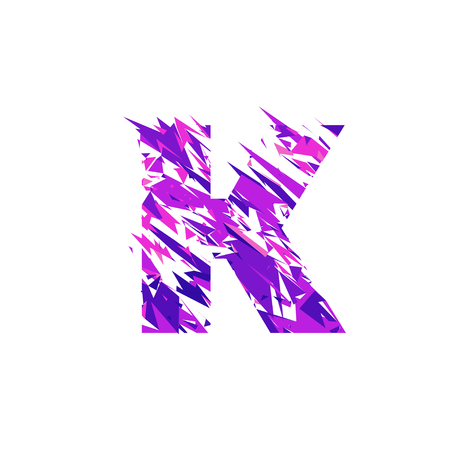 Letter K is made in the ultraviolet color with effect destroyed shape or splinters. Standard-Bild - 94314207