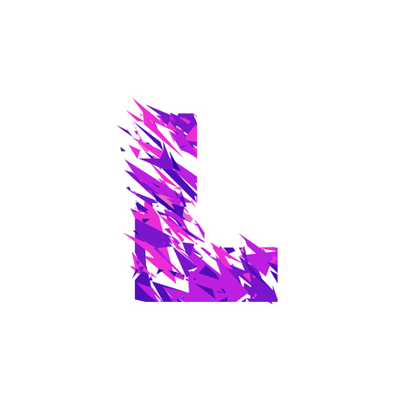 Letter L is made in the ultraviolet color with effect destroyed shape or splinters.