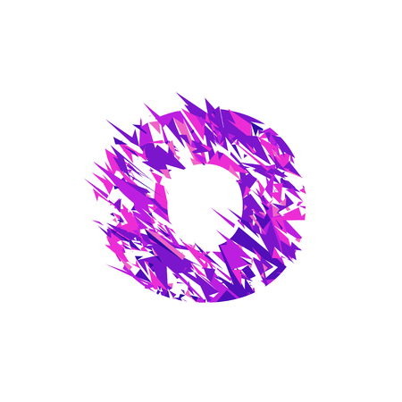 Letter O is made in the ultraviolet color with effect destroyed shape or splinters.