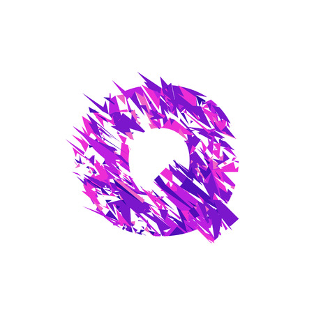 Letter Q is made in the ultraviolet color with effect destroyed shape or splinters.