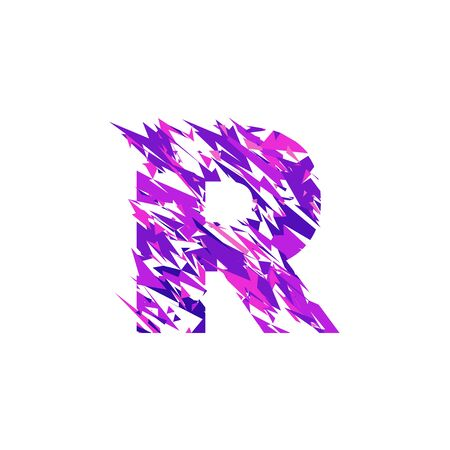 Letter R is made in the ultraviolet color with effect destroyed shape or splinters. Standard-Bild - 94382282