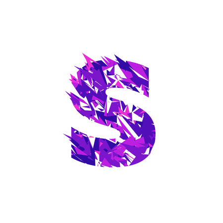 Letter S is made in the ultraviolet color with effect destroyed shape or splinters.
