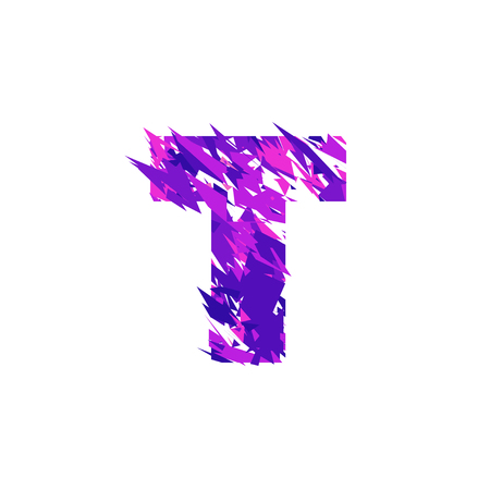 Letter T is made in the ultraviolet color with effect destroyed shape or splinters.