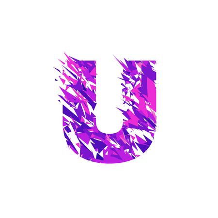 Letter U is made in the ultraviolet color with effect destroyed shape or splinters. Иллюстрация