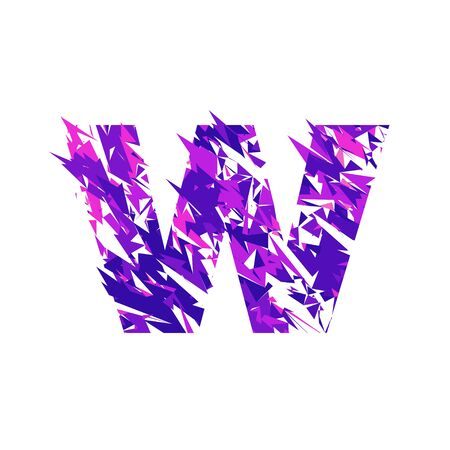 Letter W is made in the ultraviolet color with effect destroyed shape or splinters.