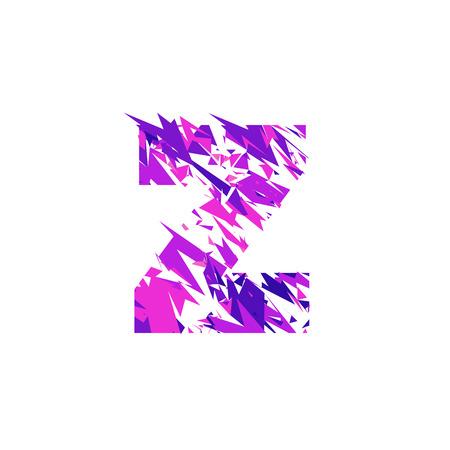 Letter Z is made in the ultraviolet color with effect destroyed shape or splinters. Illustration