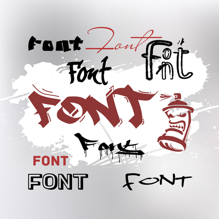Types of fonts in the style of street graffiti. Illustration