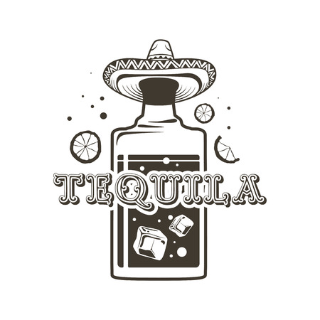 Logo bottles of tequila, straight shot and a Mexican hat. Illustration