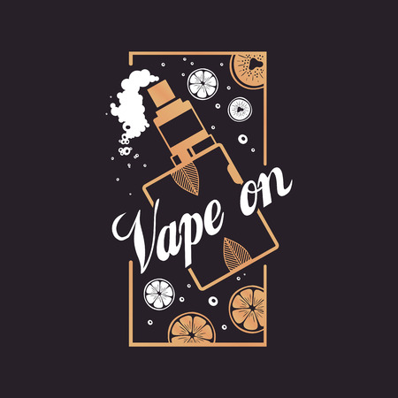 Logo vape on with smoke and fruit.