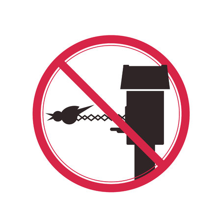 Prohibited sign with a picture of a cuckoo clock.