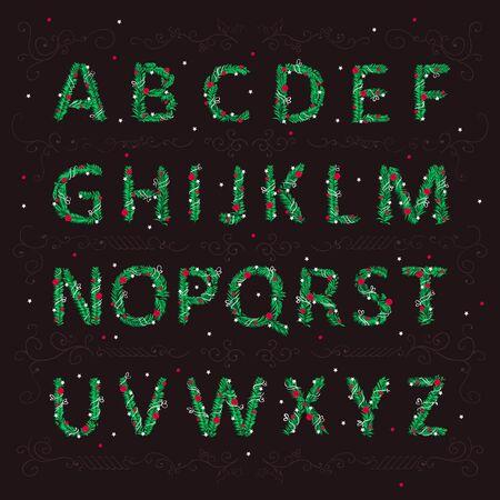 クリスマスおもちゃクリスマス ツリーの針の形で英語のアルファベット。