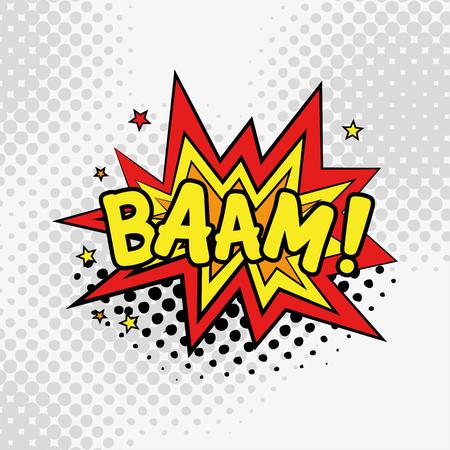 BAAM komische tekst in pop-art stijl illustratie. Stock Illustratie