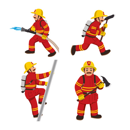Set of firemans in a red suit vector illustration.