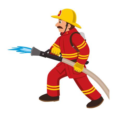 소방관이 호스에 불을 끈다.