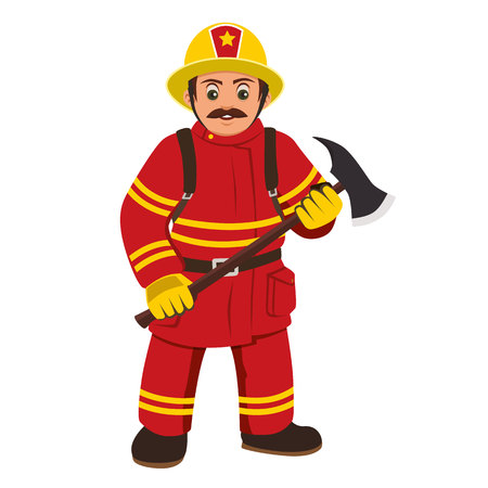 The image of a firefighter holding an ax. Çizim