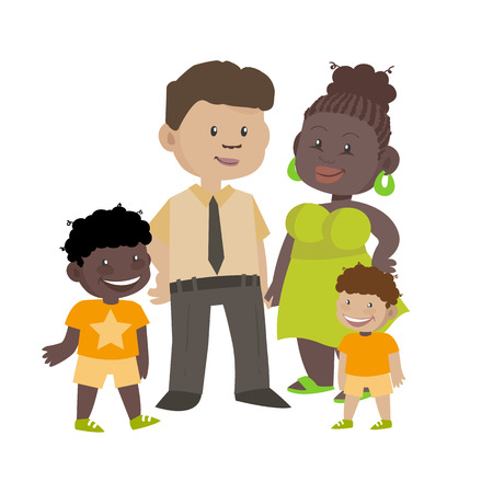 Ethnic family of black wife and white husband with children. Illustration