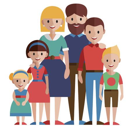 Portrait of happy family, vector illustration.