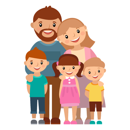 Happy family of five, posing together, vector illustration.