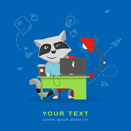 Raccoon sitting at a desk with a laptop and coffee. Illustration